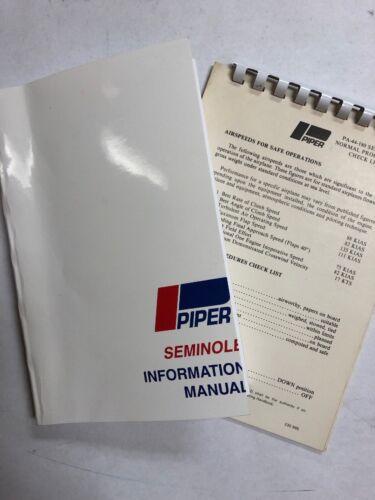 Piper Seminole PA44-180 Information Manual 1978 Copy & Pilot Check List Original