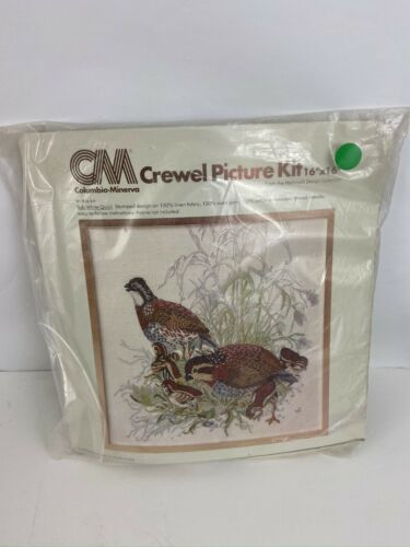 "Vintage ""New"" Needlepoint Kit CM Crewel Picture Bob White Quail Columbia Minerva"