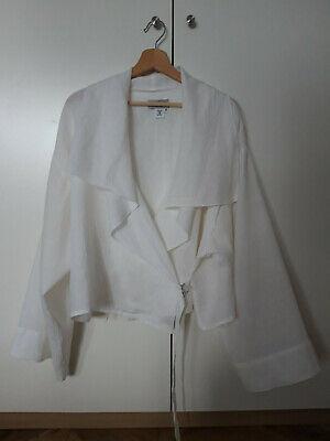 Ivan Grundahl White 100% Linen Oversize Jacket Size 36 Wide Sleeve