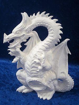 Ready to Paint Ceramic Bisque Standing Dragon, unpainted; U-paint