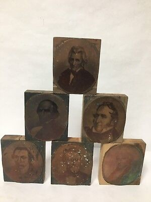 6 Pc Letterpress Photo Print Block Ormsbee Engraving Ny Portrait Copper Haunted