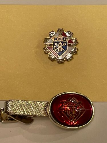 2 Vintage KNIGHTS OF COLUMBUS / Enameled Pin / Rhinestones / Red Jelly Tie Bar