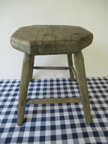 """Antique Stool, Primitive Pine Wood, 4 Legs 15"""" Tall Orig Green Pt, Square Nails"""