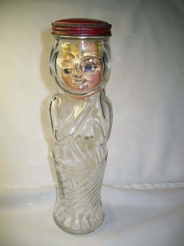 ANTIQUE FIGURAL BOTTLE WOMAN CARRIE NATIONS? PATENT 84161 W/ LID