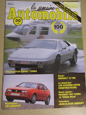 LA SEMAINE AUTOMOBILE: n°100: 10/09/1988: LOTUS ESPRIT TURBO - R19 TXE - CORRADO