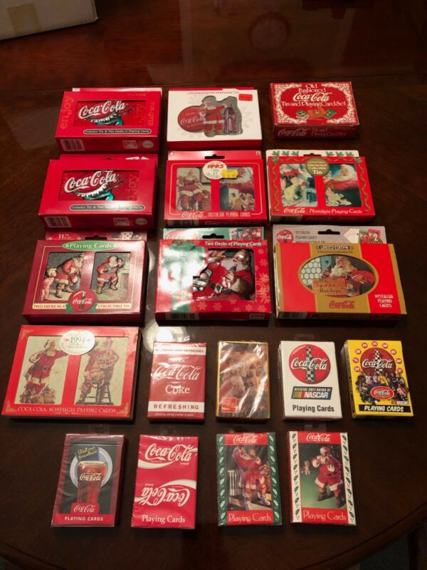 LOT OF 18 NIP Coca Cola Coke Playing Cards SETS - Christmas NASCAR ect.