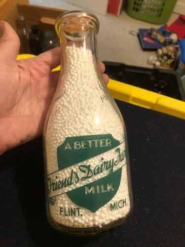 Vintage Friend's Dairy Farm Flint MI quart embossed milk bottle