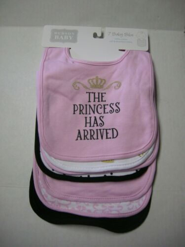 """Bibs By Hudson Baby, 7 Pieces, """"The Princess Has Arrived"""" Theme, Brand New"""