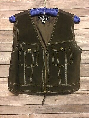 Brown Cowgirl Vest (Vtg Western Brown Suede Vest Leather Shebang Cowgirl Rodeo Size Medium)