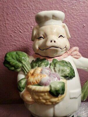 World Bazaar Inc. Pig Chef Teapot Ceramic Piggy w Vegetables and Kerchief Vtg