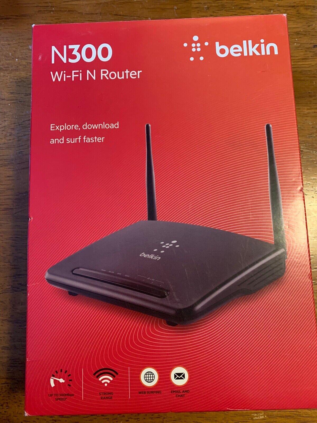 Belkin 300Mbps Wireless-N 300 4 Port Router 2 Antennas WiFi