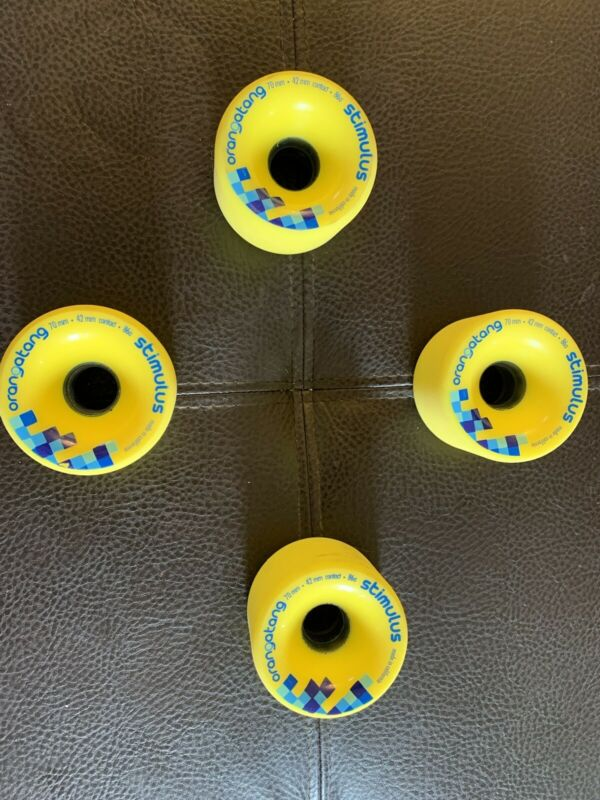 Orangatang Stimulus Long Board  Wheels - Set Of 4 - 70mm 42mm 86a - Yellow - New