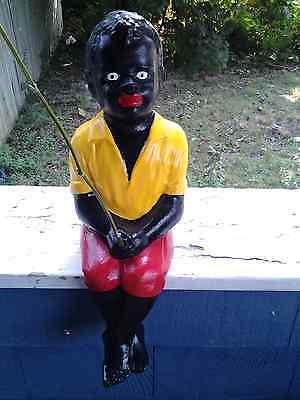 BLACK ON BLACK  FISHING BOY JR. STATUE.HOLMES.JUNE 2017  ALL STATUES .CLEAR COAT