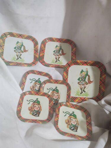 3 VTG Mini Small Plates 4 Saucers Scottish Dancers Plaid Tartan Border Metal Tin