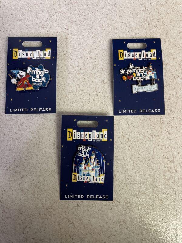 Disneyland Resort The Magic is Back LR Sorcerer Mickey Pin Brand New All 3 Pins!
