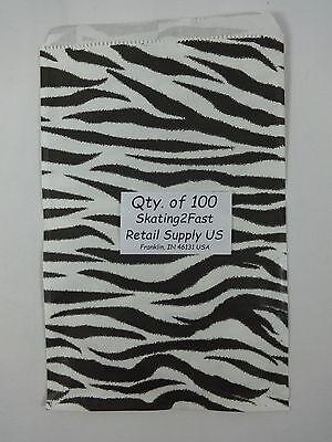 Qty. 100 Zebra Print Design Paper Merchandise 6 X 9 Bag Retail Shopping