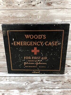 Vintage Woods Emergency First Aid Kit Metal box, Johnson & Johnson
