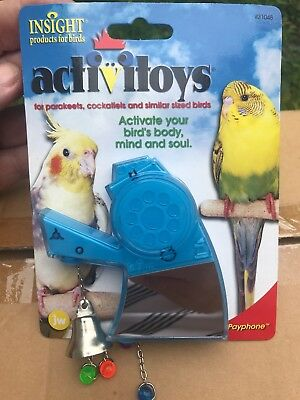 ActiviToys Parakeet Cockatiel Bird Toy From Insight Mirror Bell Red Blue Yellow