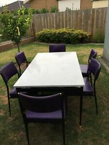 Retro dining table & 6 chairs