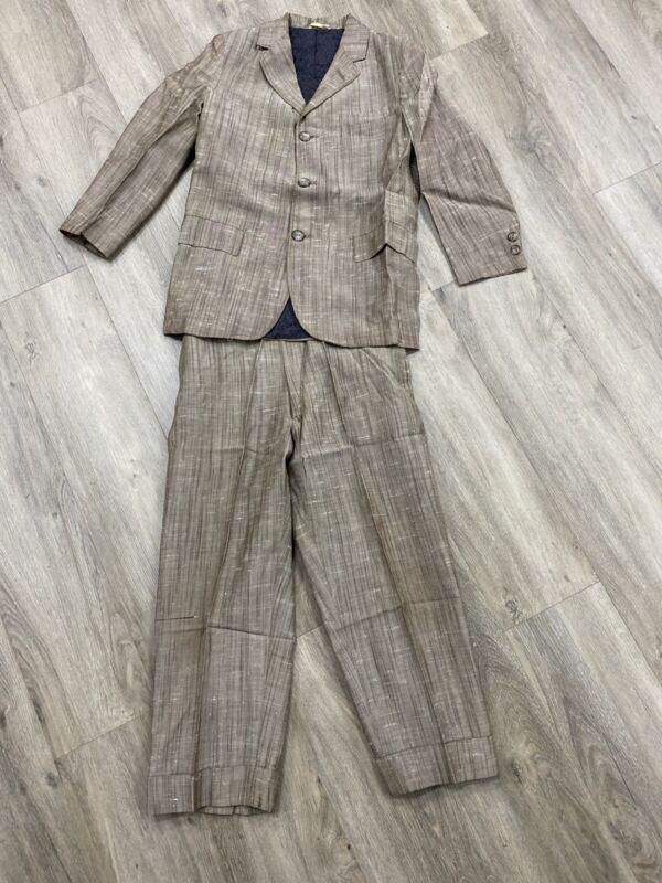 Vintage 1950s Brown Boys One Of A Kind 2 Piece Suit Handmade In Venezuela Rare!