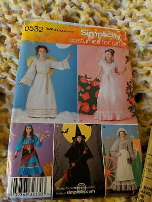 SIMPLICITY 0532 Girls COSTUME Pattern Angel Witch Princess Maid Gypsy Sz 2 - 12