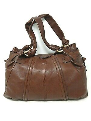 B.Makowsky Brown Soft Leather Large Hobo Tote Satchel Travel Handbag Purse Snap