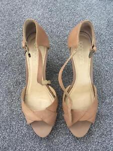 Tan leather wedge heels (label - Bonbons) $30
