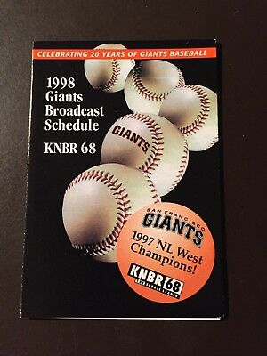 San Francisco Giants 1998 Mlb Pocket Schedule   Farmers Insurance