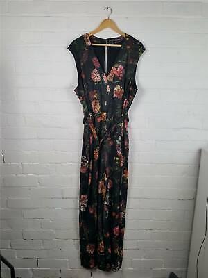 Little Mistress Black Floral Print Belted Jumpsuit Size UK 22