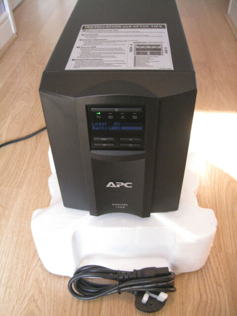 APC SMART-UPS SMT 1500i VA LCD TOWER UPS WITH NEW APC RBC7 BATTERY & CABLES 926