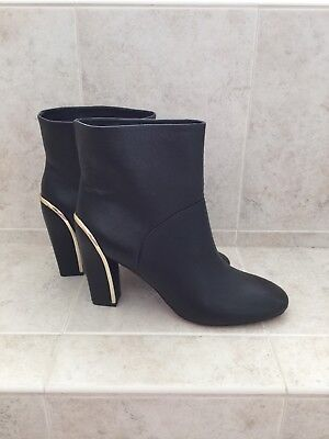 Diane von Furstenberg Women's Black Leather Ankle Boots with Gold Trim NEW - Black Boots With Gold Trim