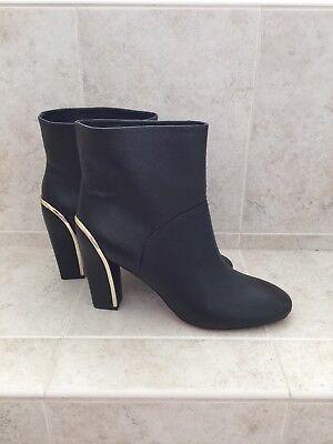 Black Boots With Gold Trim (Diane von Furstenberg Women's Black Leather Ankle Boots with Gold Trim)