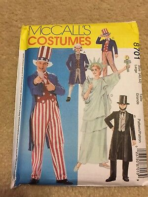 McCall's COSTUMES 8701 Abe Lincoln STATUE LIBERTY Uncle Sam Men SIZE 40-42 for sale  Chesapeake