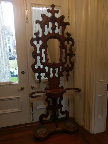 Antique Victorian Walnut  Coat / Umbrella Stand with 2 Iron Drip Pans