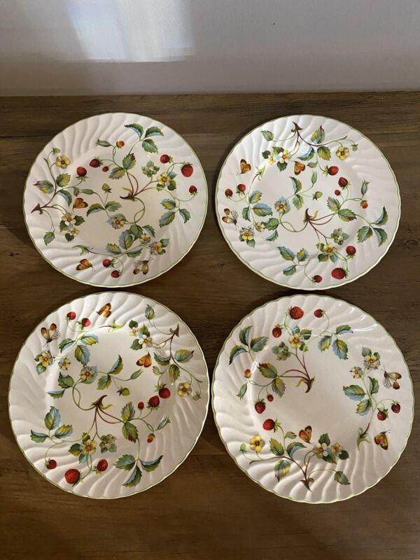 """James Kent Old Foley Strawberry 8"""" Salad/Dessert Plates - Set of 4"""