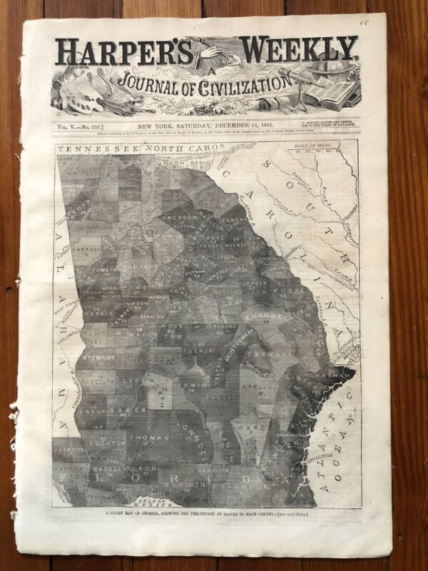 1861 CIVIL WAR newspaper w front page MAP of SLAVE CENSUS in CONFEDERATE GEORGIA