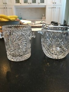 Two crystal ice buckets.   Like new