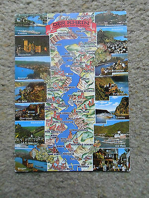 MAP POSTCARD.OF DER RHEIN GERMANY WITH 14 VIEWS..POSTED 1993.