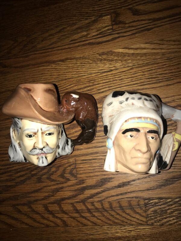 BUFFALO BILL & INDIAN CHIEF Ceramic Mugs BYRON MOLDS 1973 Rare Lot Of 2 Good