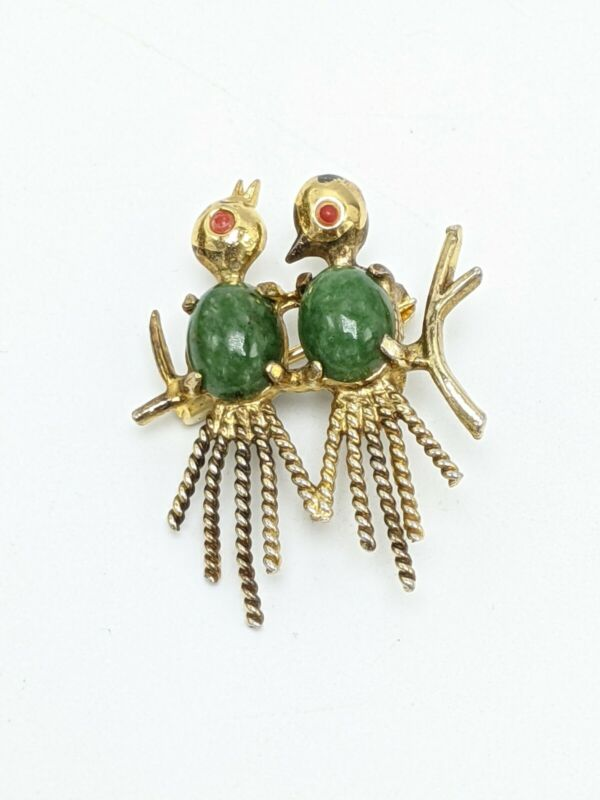 "Vintage Creed Gold Washed Sterling Vermeil Lovebirds Scatter Type Pin Brooch 1"""