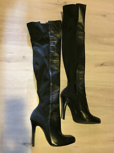 Leather thigh high boots sz 9