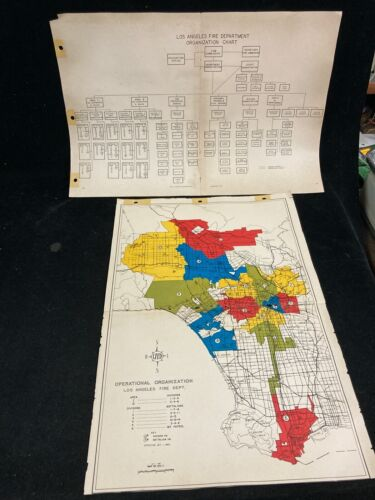 1960 LOS ANGELES FIRE DEPARTMENT OPERATIONAL MAP & 1961 ORGANIZATION CHART