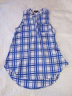 Stitch Fix Paper Moon Womens Tank Size S Blue/White Check High/Low Semi Sheer