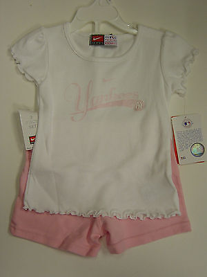 NEW Infant Toddler Kids Girls NIKE 2 piece NY Yankees White Pink Shirt & -