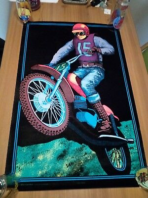 VINTAGE 1970's MOTO CROSS BLACK LIGHT POSTER MOTORCYCLE DIRT BIKE ADVERTISING