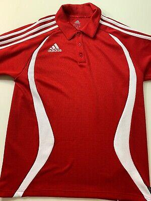 Adidas Men's Medium ClimaLite 3 Stripe Red Short Sleeve Polo Shirt Predator (Adidas Predator Climalite Short)