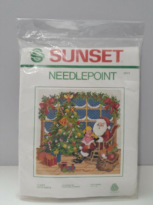 Vintage Sunset Needlepoint Christmas Kit  A VISIT WITH SANTA 1981 Wool