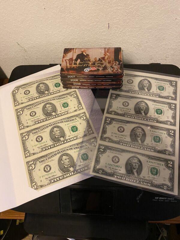 Estate Lot Of Uncut 5 Dollar Bills And 2 Dollar Bills 4 $1 Proof Sets President