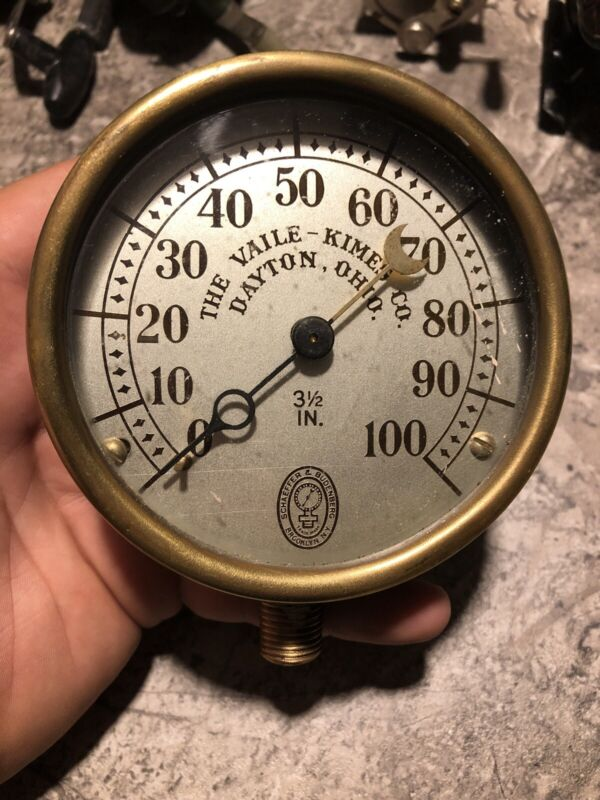 Vintage Schaeffer & Budenberg Pressure Gauge 3 1/2 In The Vaile Kimes Dayton OH