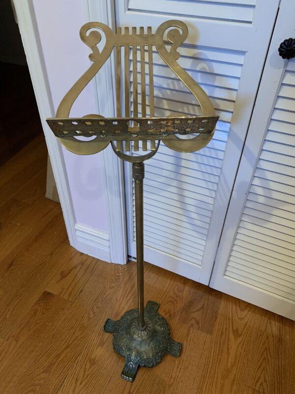Lovely Antique Vintage Victorian Brass Music Adjustable Stand